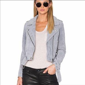 Chelsea & Violet Suede Leather Gray Moto Jacket L